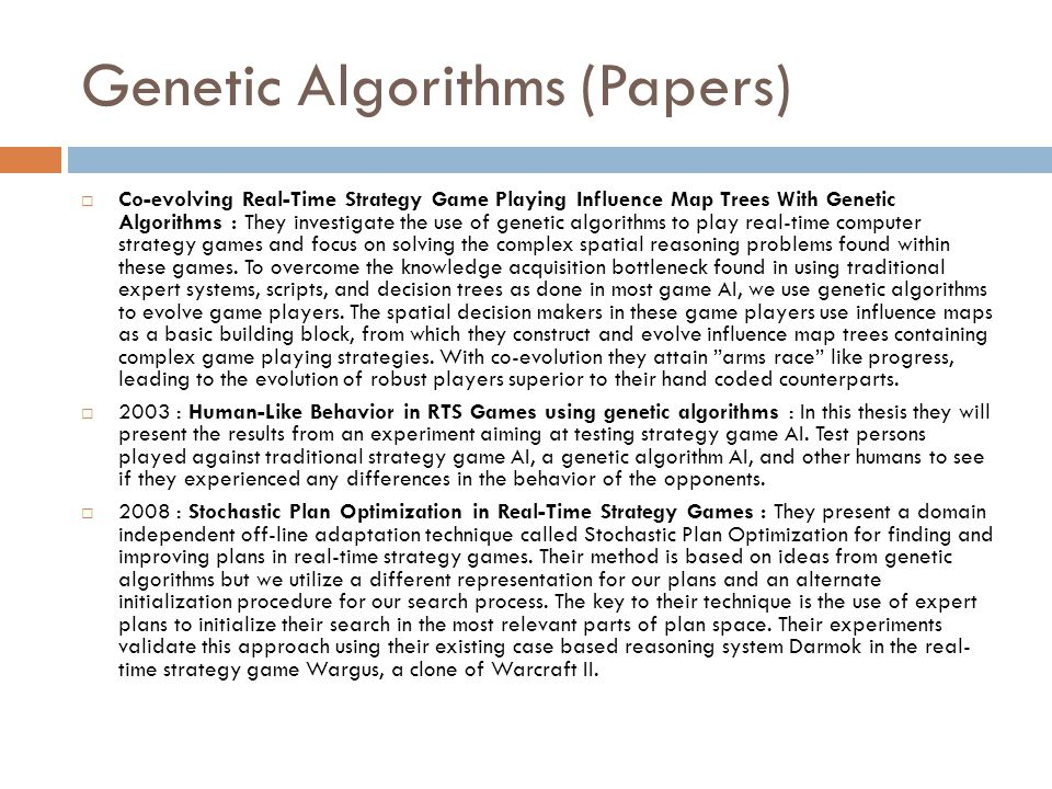 Genetic Algorithms (Papers)