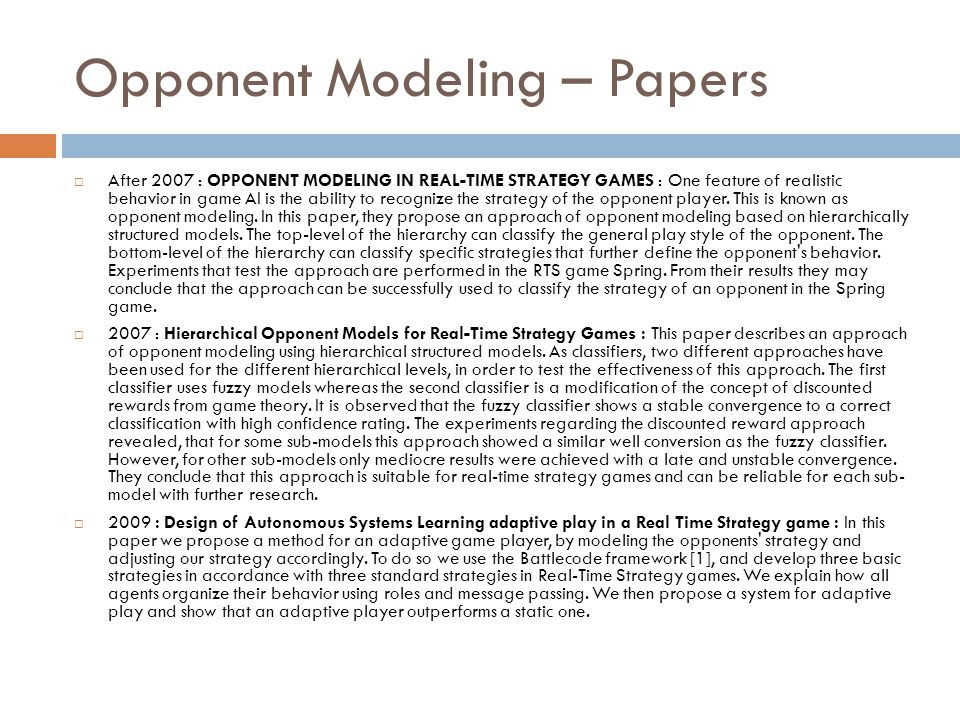Opponent Modeling – Papers