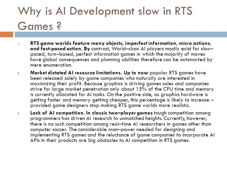 Why is AI Development slow in RTS Games