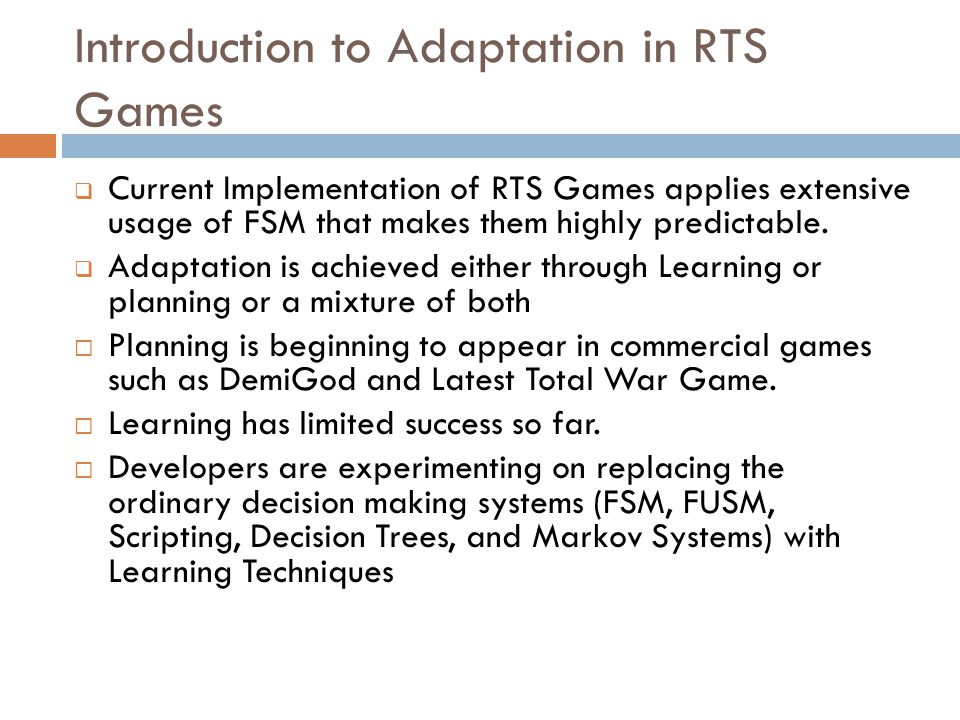 Introduction to Adaptation in RTS Games