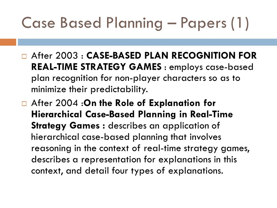Case Based Planning – Papers (1)