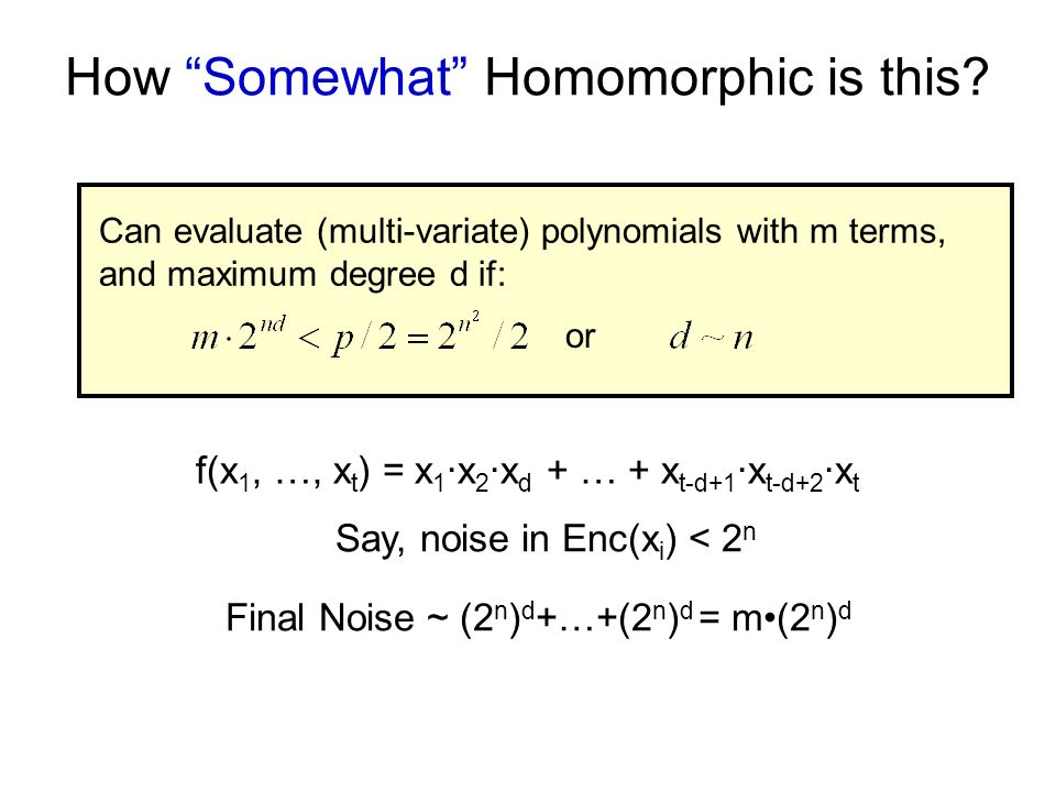 How Somewhat Homomorphic is this