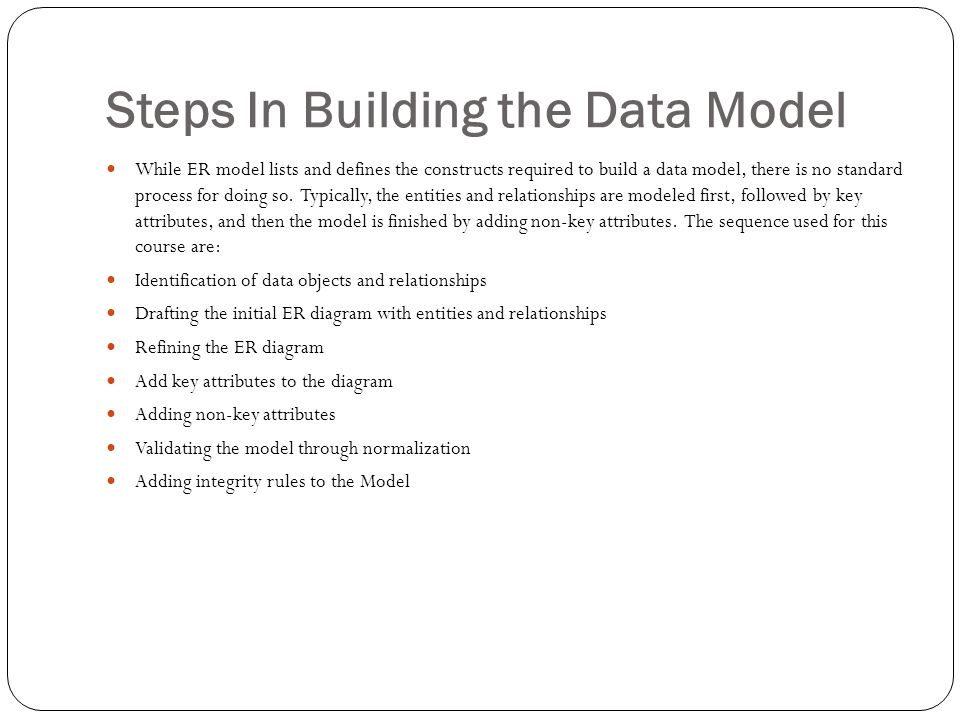 Steps In Building the Data Model