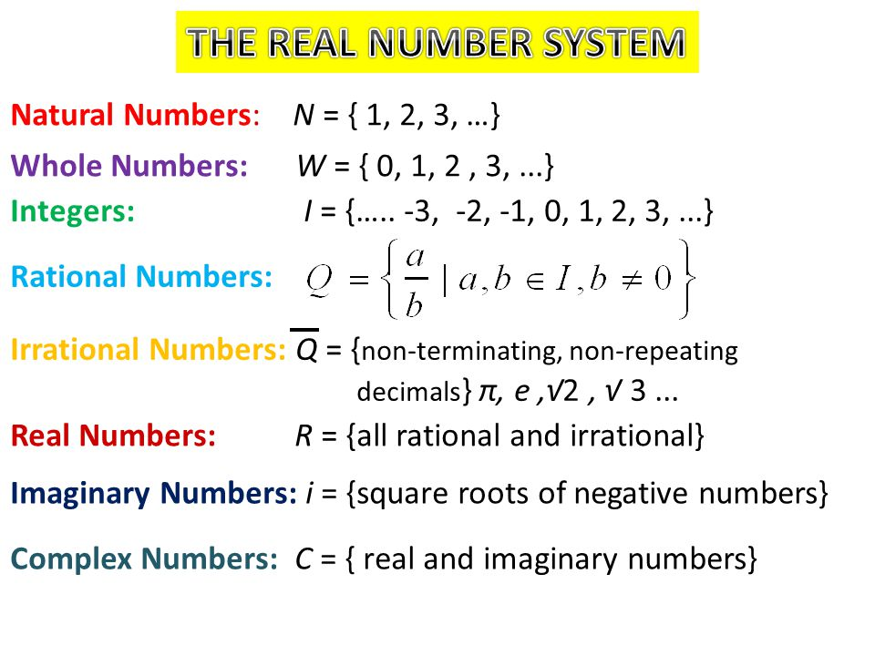 THE REAL NUMBER SYSTEM Natural Numbers: N = { 1, 2, 3, …}