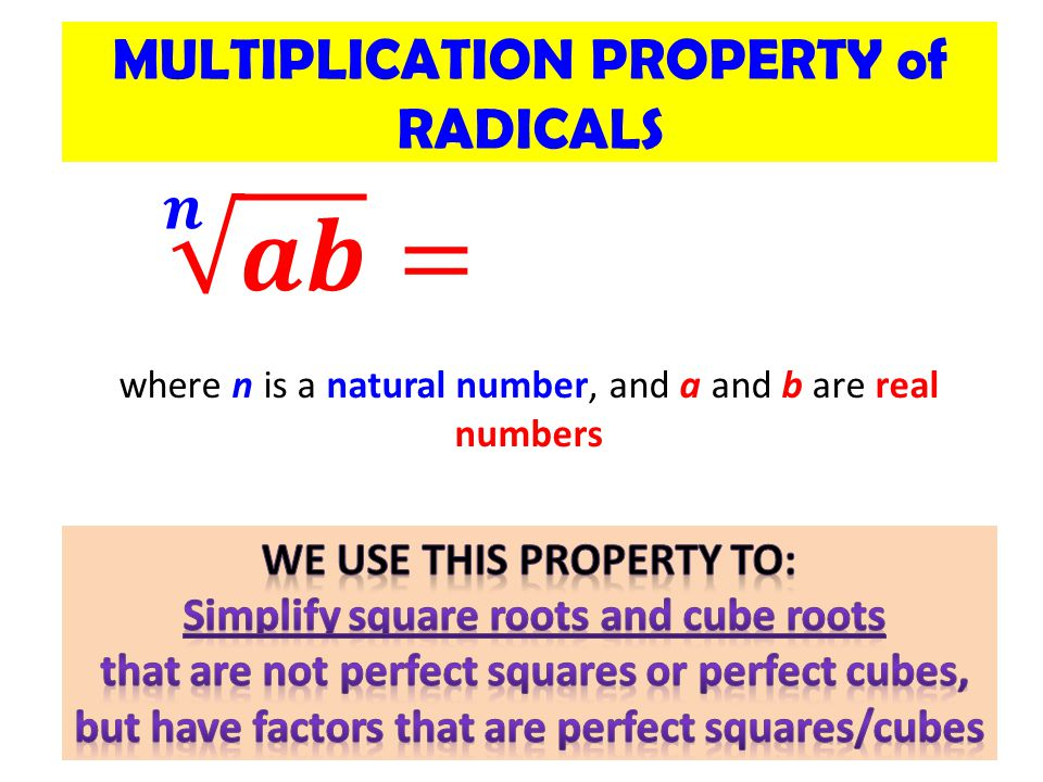 MULTIPLICATION PROPERTY of RADICALS