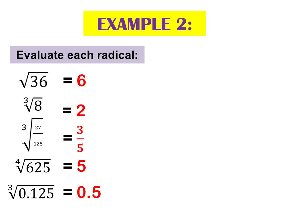 Evaluate each radical: