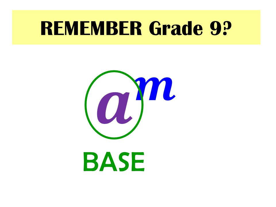 REMEMBER Grade 9 𝒂 𝒎 BASE