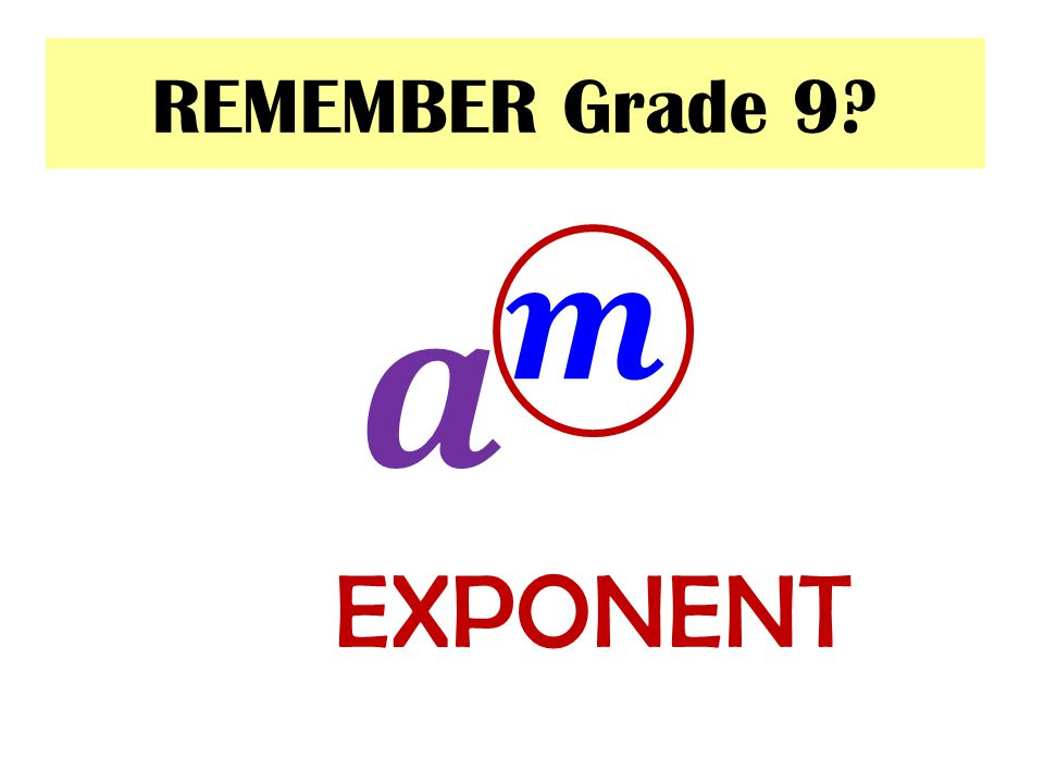REMEMBER Grade 9 𝒂 𝒎 EXPONENT
