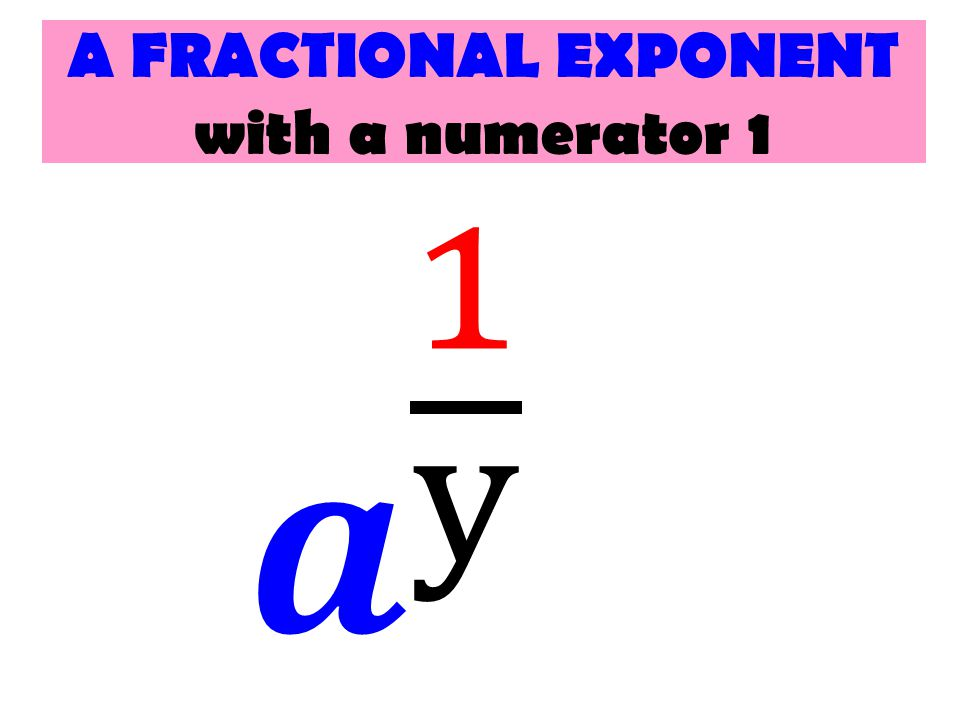 A FRACTIONAL EXPONENT with a numerator 1