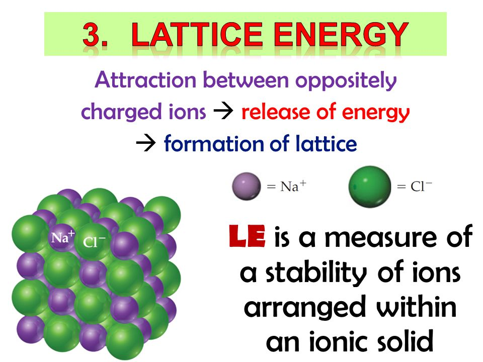 LE is a measure of a stability of ions arranged within an ionic solid