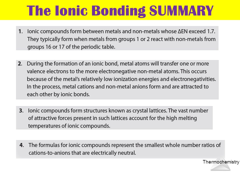 The Ionic Bonding SUMMARY