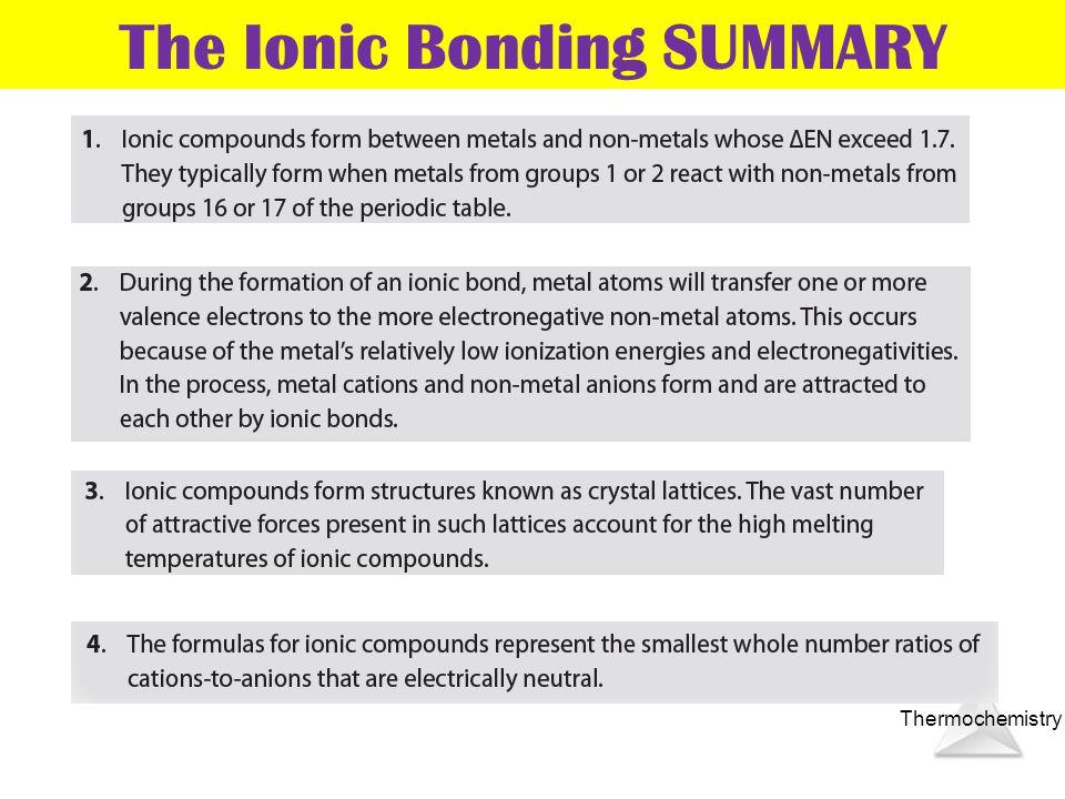 The Ionic Bonding SUMMARY