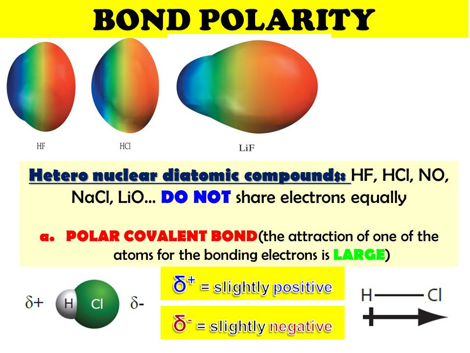 BOND POLARITY δ+ = slightly positive δ- = slightly negative