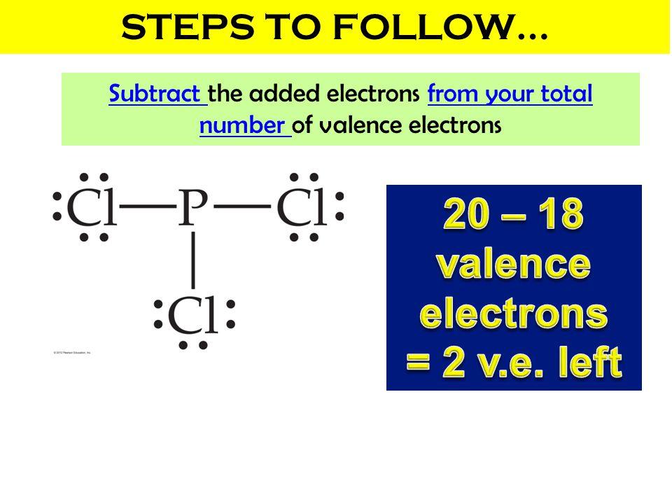 20 – 18 valence electrons = 2 v.e. left