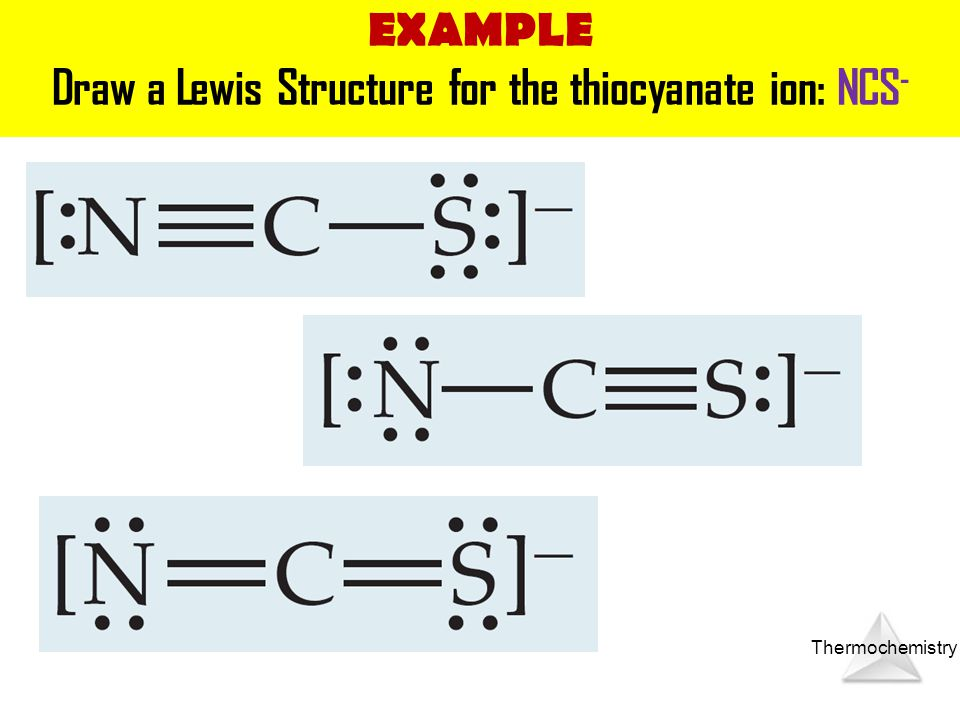 Draw a Lewis Structure for the thiocyanate ion: NCS-