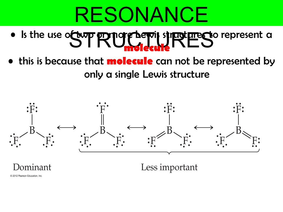 Is the use of two or more Lewis structures to represent a molecule