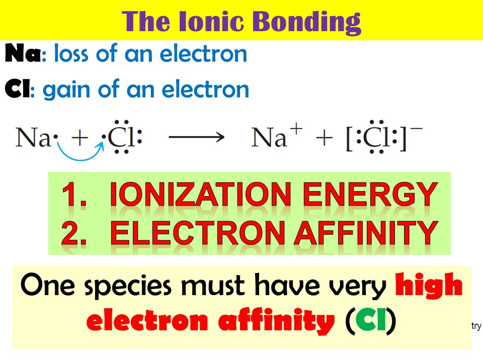One species must have very high electron affinity (Cl)