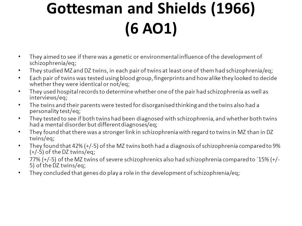 Gottesman and Shields (1966) (6 AO1)