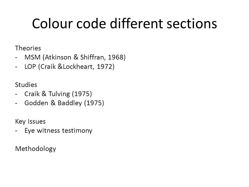 Colour code different sections