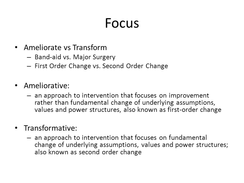 Focus Ameliorate vs Transform Ameliorative: Transformative: