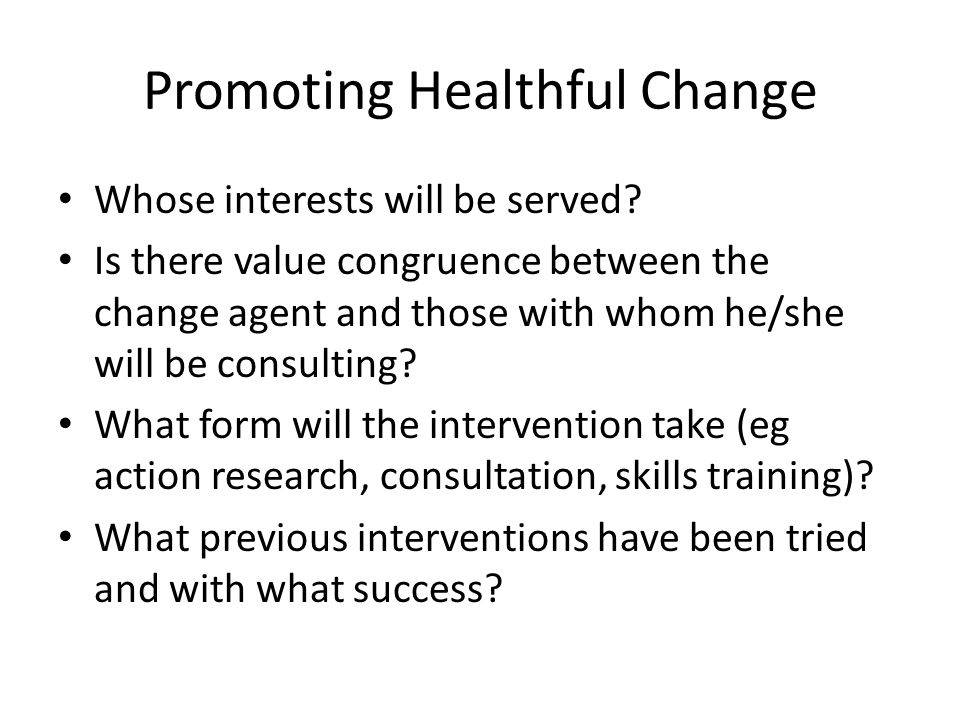 Promoting Healthful Change