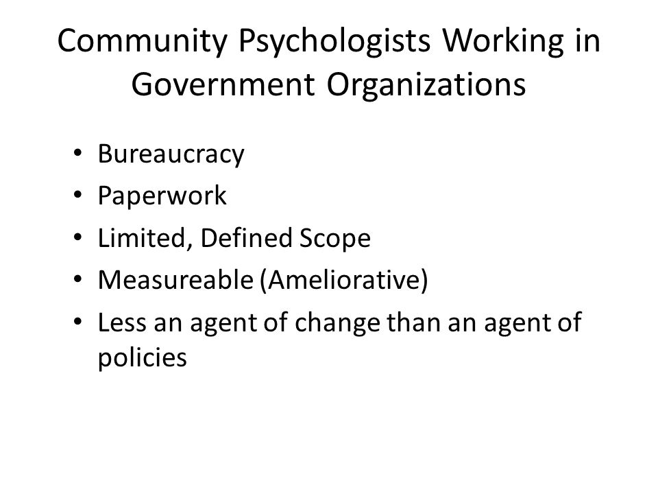 Community Psychologists Working in Government Organizations