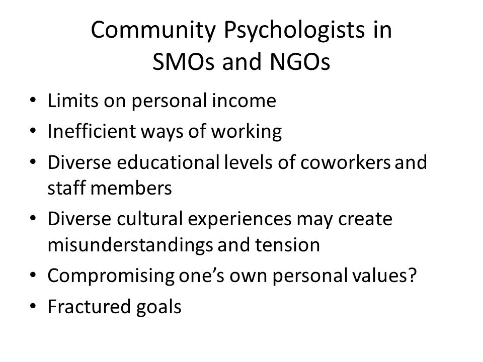 Community Psychologists in SMOs and NGOs