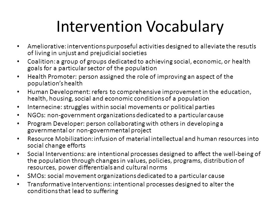 Intervention Vocabulary