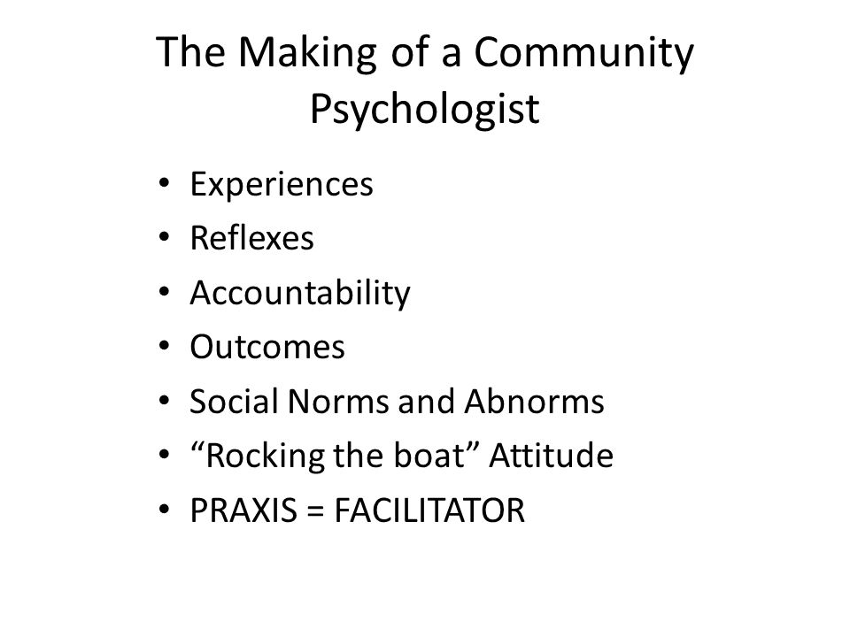 The Making of a Community Psychologist