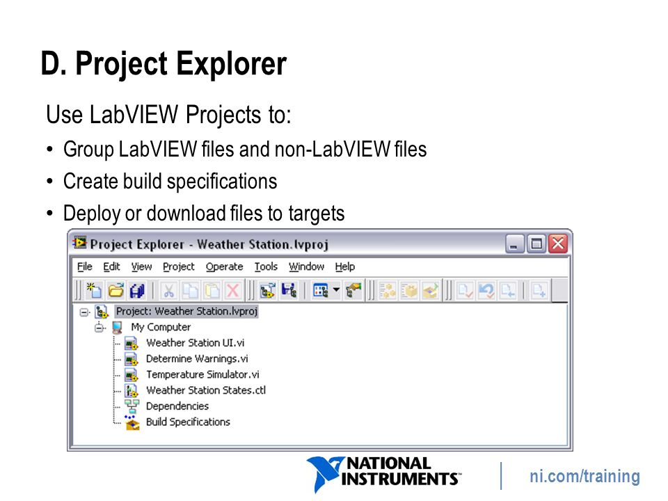 D. Project Explorer Use LabVIEW Projects to: