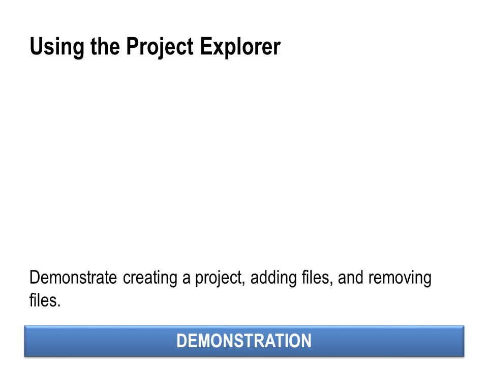 Using the Project Explorer