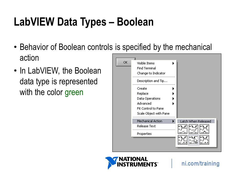 LabVIEW Data Types – Boolean