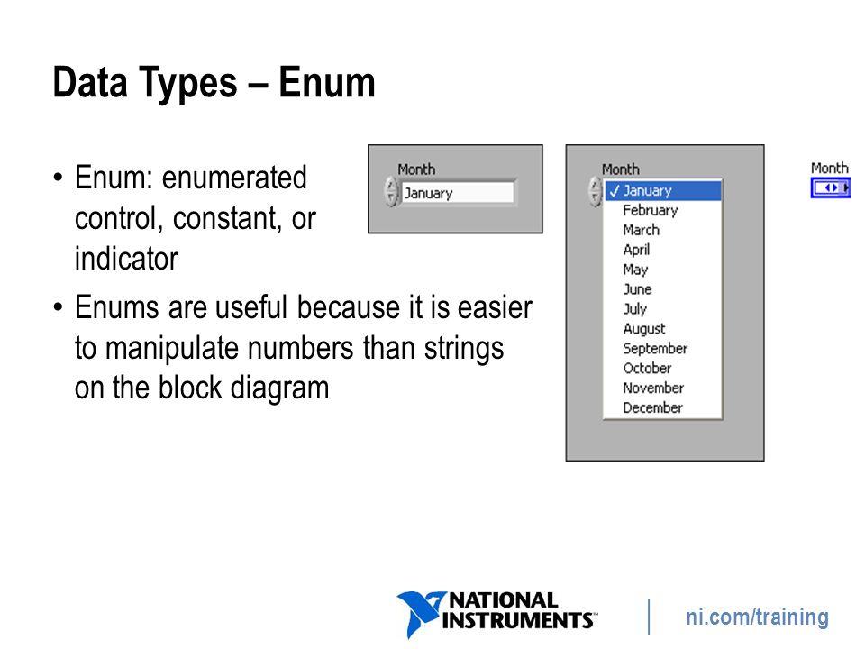 Data Types – Enum Enum: enumerated control, constant, or indicator