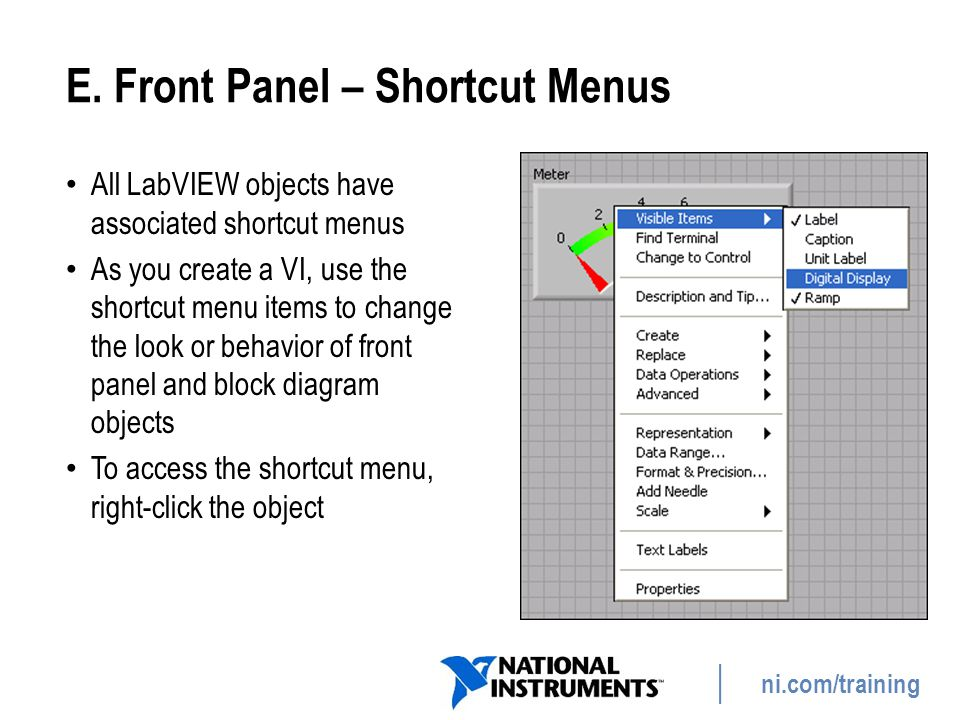 E. Front Panel – Shortcut Menus