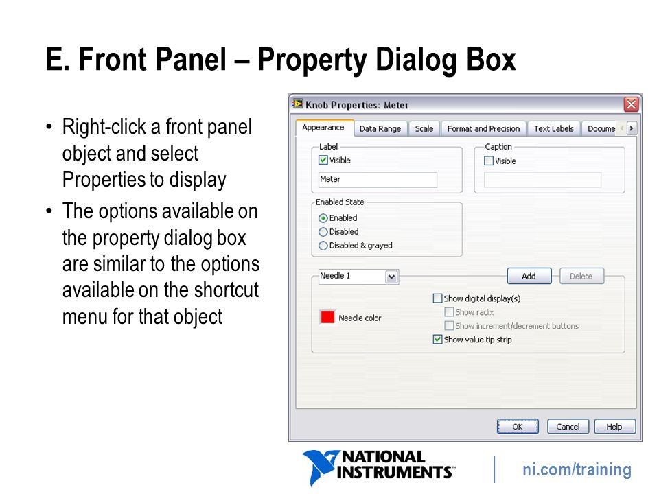 E. Front Panel – Property Dialog Box