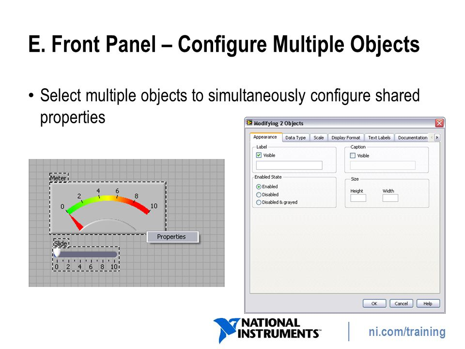 E. Front Panel – Configure Multiple Objects