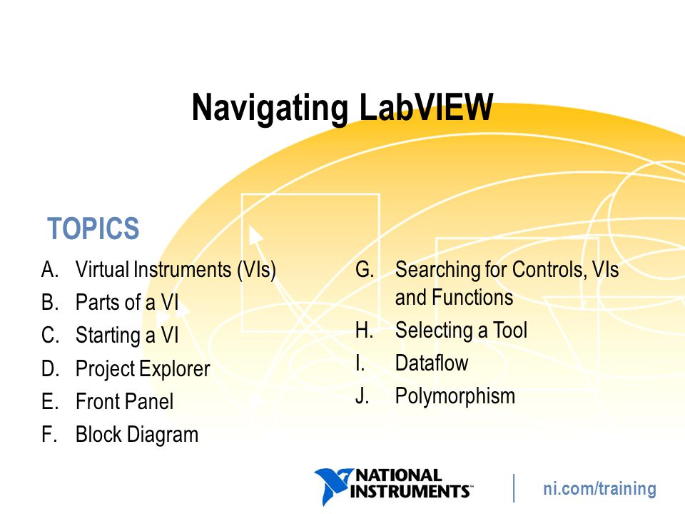 Navigating LabVIEW Virtual Instruments (VIs) Parts of a VI