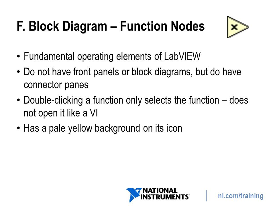 F. Block Diagram – Function Nodes