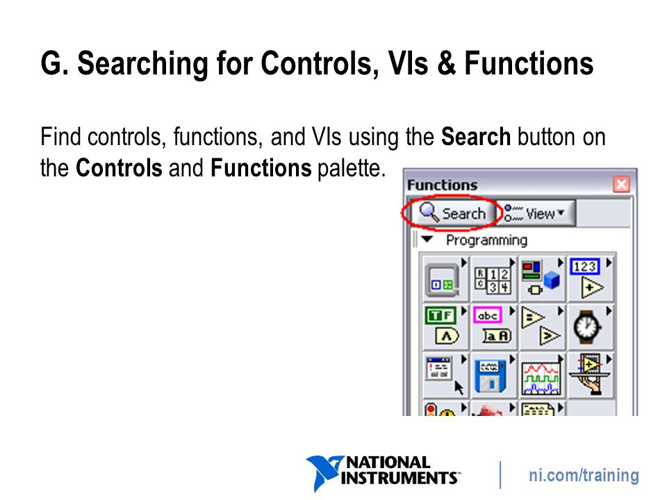 G. Searching for Controls, VIs & Functions