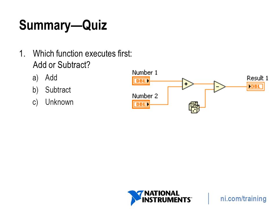 Summary—Quiz Which function executes first: Add or Subtract Add