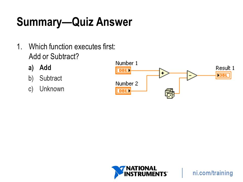 Summary—Quiz Answer Which function executes first: Add or Subtract