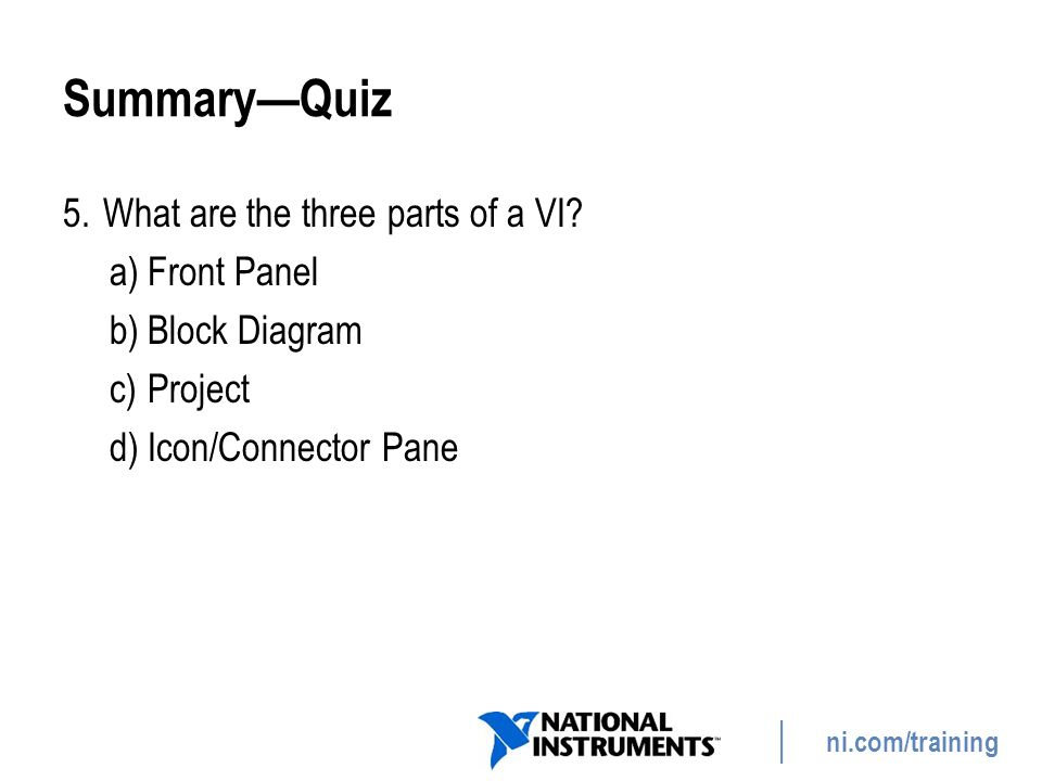 Summary—Quiz What are the three parts of a VI Front Panel