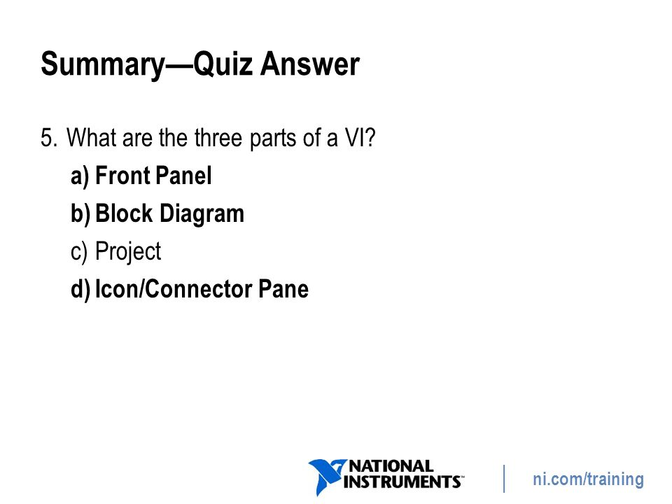 Summary—Quiz Answer What are the three parts of a VI Front Panel