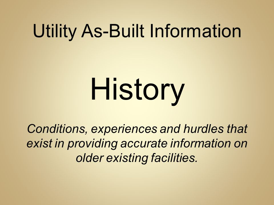Utility As-Built Information