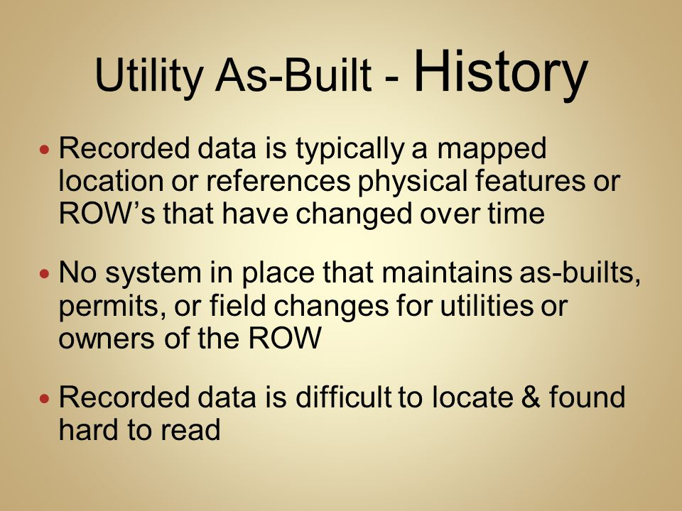 Utility As-Built - History
