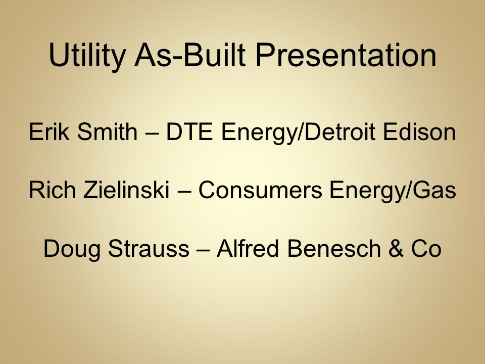 Utility As-Built Presentation