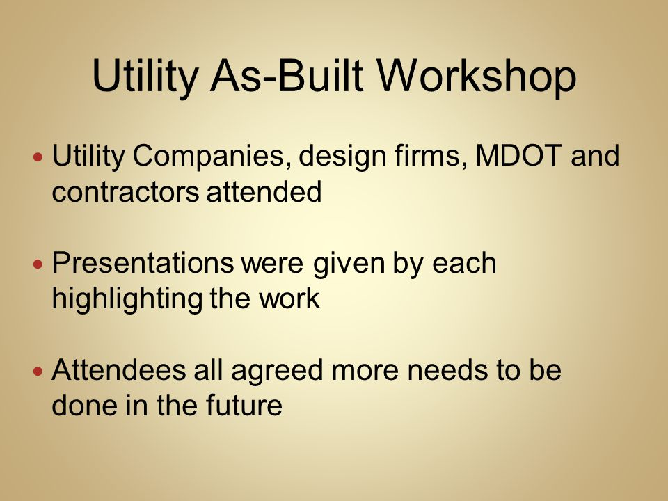 Utility As-Built Workshop