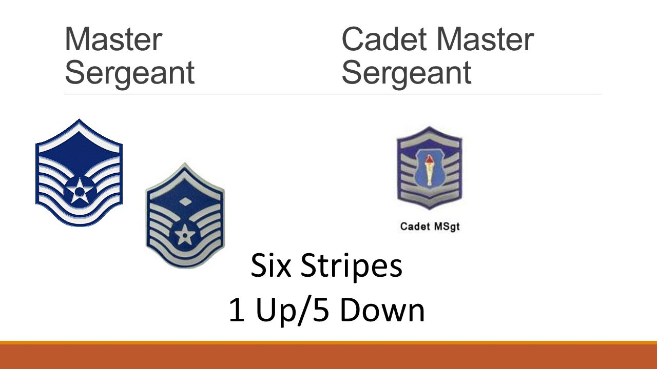 Master Sergeant Cadet Master Sergeant Six Stripes 1 Up/5 Down