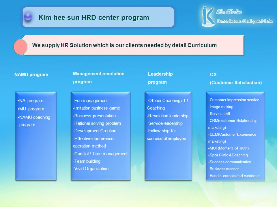 We supply HR Solution which is our clients needed by detail Curriculum