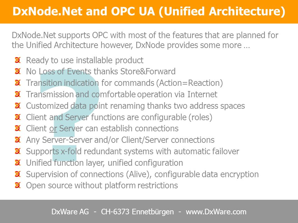 DxNode.Net and OPC UA (Unified Architecture)